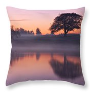 Reflections In A Lake At Dawn / Maynooth Throw Pillow by Barry O Carroll
