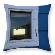 Reflections In A Shed Window - Curiosity - Fishing Throw Pillow