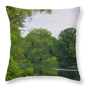 Reflections In Spring Green Throw Pillow