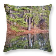 Reflections In The Pines Throw Pillow