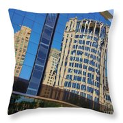 Reflections In The Rolex Bldg. Throw Pillow