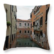 Reflections In Venetian Canal Throw Pillow