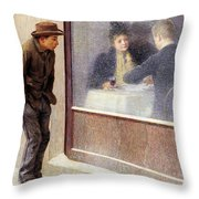 Reflections Of A Hungry Man Or Social Contrasts Throw Pillow by Emilio Longoni