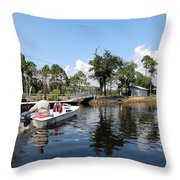 Reflection's Of A Lone Fisherman Throw Pillow