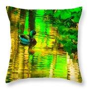 Reflections Of A Mallard Duck Throw Pillow