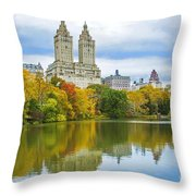 Reflections Of Autumn Central Park Lake  Throw Pillow