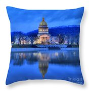 Reflections Of The West Virgina Capitol Building Throw Pillow