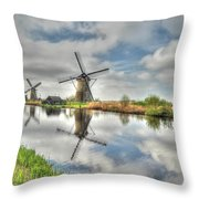 Reflections Of Wndmills Throw Pillow