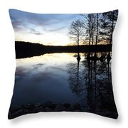 Reflections On Lake At Sunset Throw Pillow