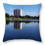 Reflections On Lake Silver Throw Pillow