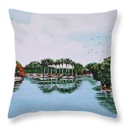 Reflections On Lal Bagh Lake Throw Pillow
