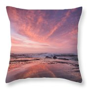 Reflections On North Jetty Dusk Throw Pillow