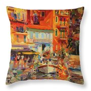Reflections - Villefranche Throw Pillow by Peter Graham