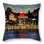 Reflections..two Rivers Pierhead Lighthouse Throw Pillow