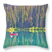 Reflective Fishing On Emerald Lake In Yoho National Park-british Columbia-canada  Throw Pillow