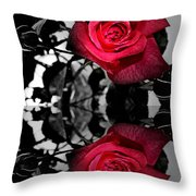 Reflective Red Rose Throw Pillow