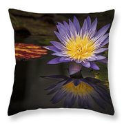 Reflective Water Lily Still Life Throw Pillow