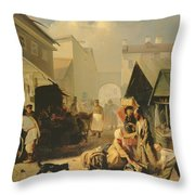 Refreshment Stall In St. Petersburg, 1858 Oil On Canvas Throw Pillow