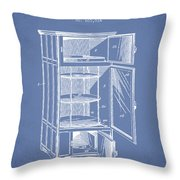 Refrigerator Patent From 1901 - Light Blue Throw Pillow