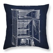 Refrigerator Patent From 1901 - Navy Blue Throw Pillow