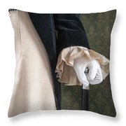 Regency Man Holding A Silver Topped Cane Throw Pillow