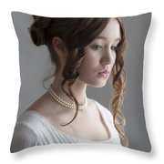 Regency Period Woman Portrait Beautiful Young  Throw Pillow