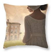 Regency Period Woman With Mansion In Background Throw Pillow