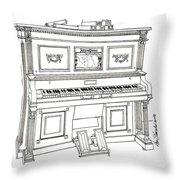 Regina Player Piano Throw Pillow