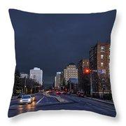 Regina Street At Night Throw Pillow