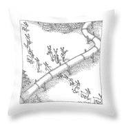 Reindeer In A Conga Line Do The Limbo Throw Pillow