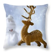 Reindeer In Snow Throw Pillow