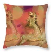 Reindeer On Parade Throw Pillow