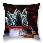 Reindeer With Christmas Trees Throw Pillow