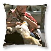 Relaxed Dog Grooming Barcelona Style Throw Pillow