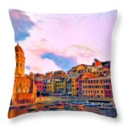 Relaxing Around Vernazza Throw Pillow