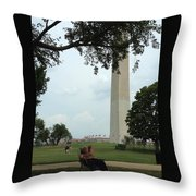Relaxing By The Washington Monument Throw Pillow