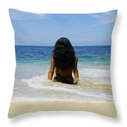Relaxing In The Waves Throw Pillow