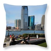 Relaxing Weekend On New York Harbor Throw Pillow