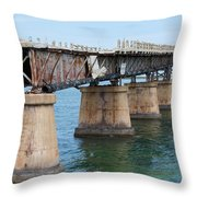 Relic Of The Old Florida Keys Overseas Railroad Throw Pillow