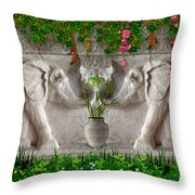 Relief Of African Elephants Throw Pillow