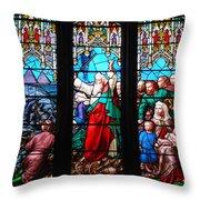Religious Stained Glass Windows Throw Pillow