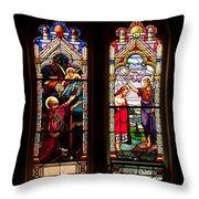 Religious Stained Windows Throw Pillow