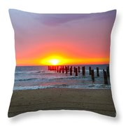 Remains Of A Wharf At Sunset Throw Pillow