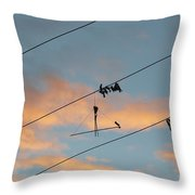 Remains Of Kite On The Electric Power Line Throw Pillow