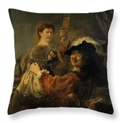 Rembrandt And Saskia In The Parable Of The Prodigal Son Throw Pillow