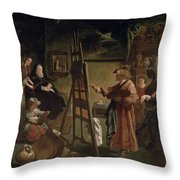 Rembrandt In His Studio Throw Pillow