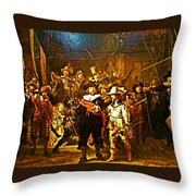 Rembrandt Painting Covered A Wall In Rijksmuseum In Amsterdam-netherlands Throw Pillow