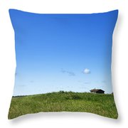 Remote Prairie Landscape With Abandoned Buildings Throw Pillow