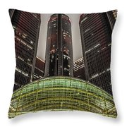 Renaissance Center Detroit Michigan Throw Pillow by Nicholas  Grunas