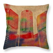 Renaissance Center Iconic Buildings Of Detroit Watercolor On Worn Canvas Series Number 2 Throw Pillow